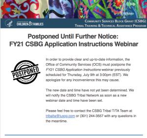 FY21 CSBG Application Instructions Webinar Postponement