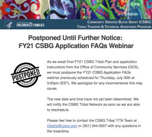 Postponed FY21 CSBG Application FAQs Webinar