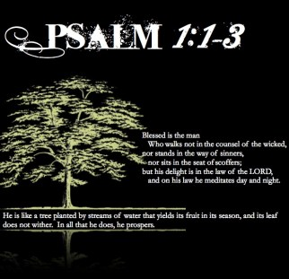 "Psalm 1:1-3--white letters on black background next to a healthy green tree: ""Blessed is the man who walks not in the counsel of the wicked, nor stands in the way of sinners, nor sits in the seat of scoffers; but his delight is in the law of the LORD, and on his law he meditates day and night. He is like a tree planted by streams of water that yields its fruit in its season, and its leaf does not wither. In all that he does, he prospers."