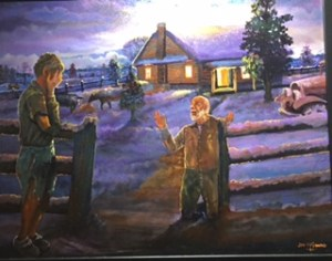 A snow covered farm house is in the distance with its lights on as day is ending. The happy father kneels at the coral gate with arm uplifted. The son is standing to the left with his hands covering his face.