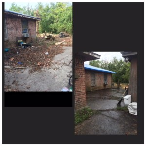 Lots of leaves and some trash cover the driveway by a brick house. Second photo shows all the debris is gone.