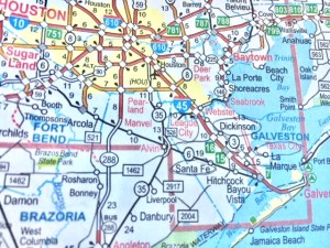 A map of south Houston shows Santa Fe circled bearing south of Houston and west of Galveston.