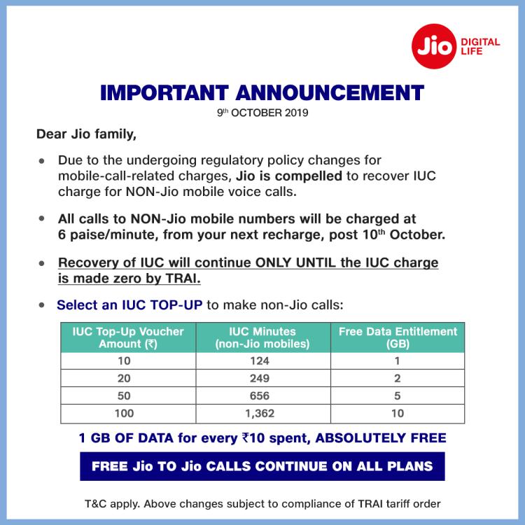 Jio New IUC CHARGES