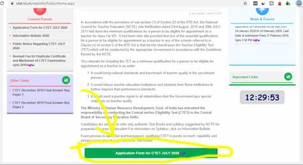 ctet online form