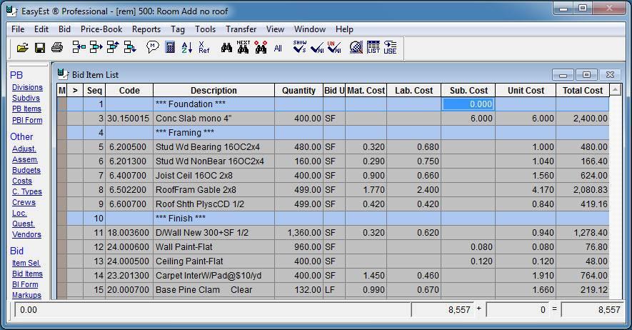 Remodeling Estimating Software Free. construction materials list ...