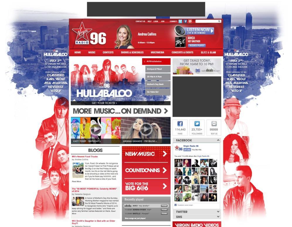 Virgin Radio's Hullabaloo Homepage Takeover