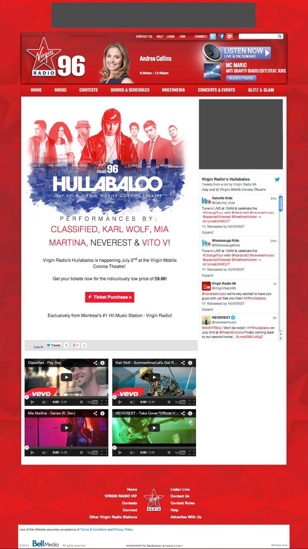 Virgin Radio's Hullabaloo Info page