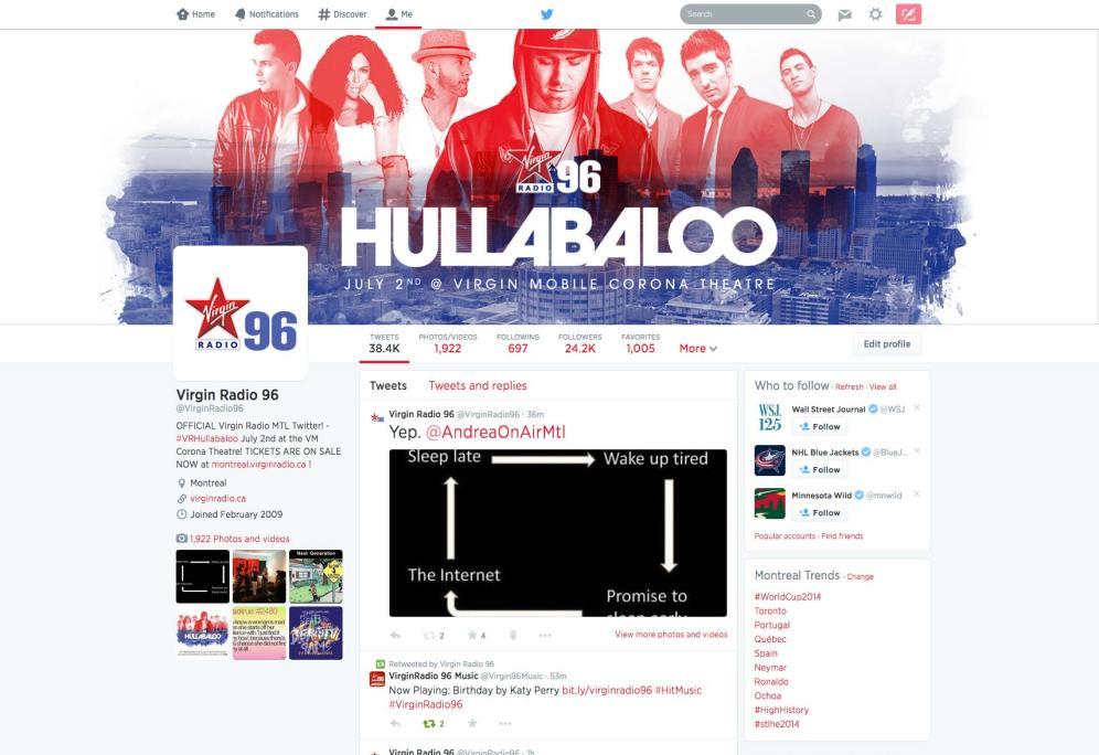 Virgin Radio's Hullabaloo - Twitter branding