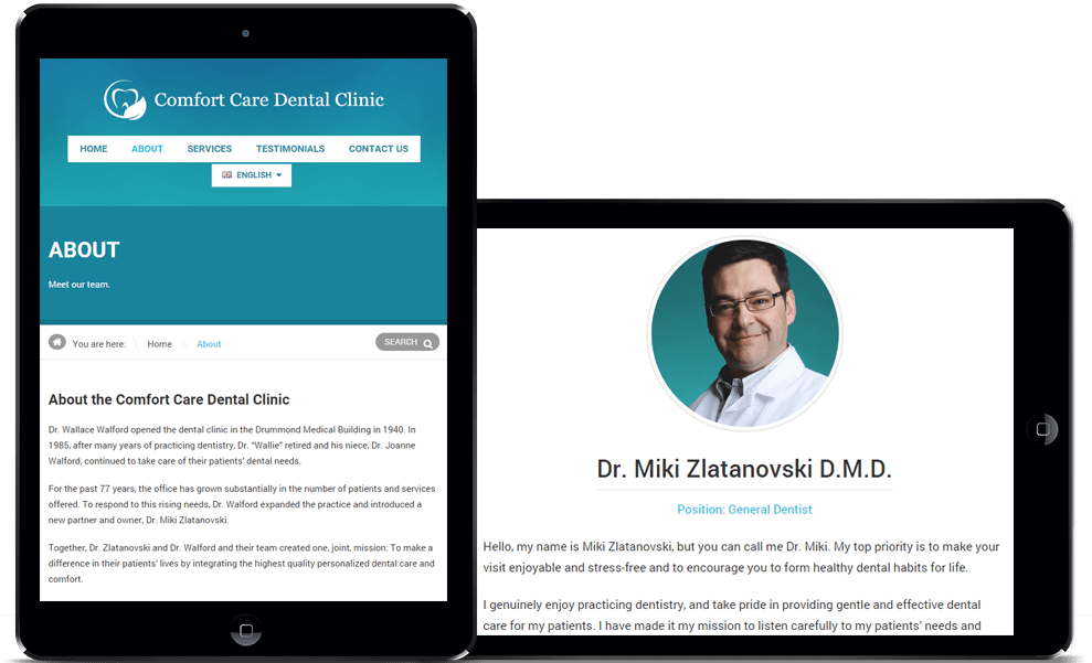 Comfort Care Dental About Page iPad