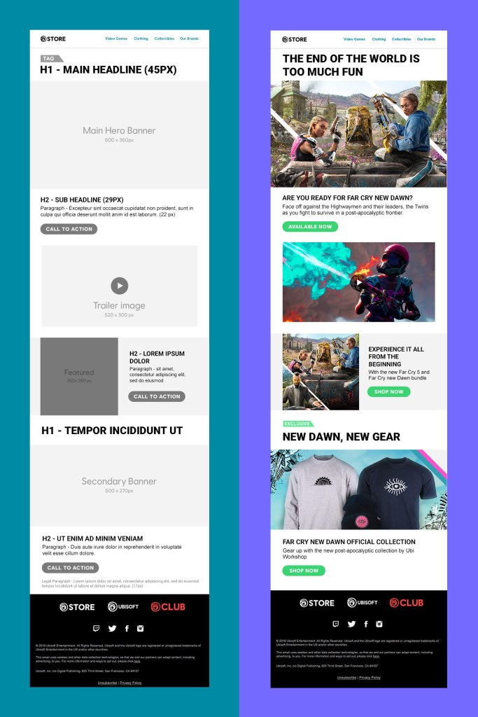 Ubisoft Store CRM newsletter template wireframe and high fidelity mock-up