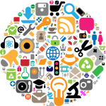 various social media and web icons grouped in a decorative circle