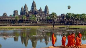 Monks in front of Angkor Wat