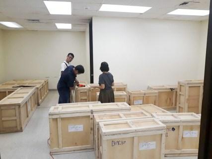 room full of crates