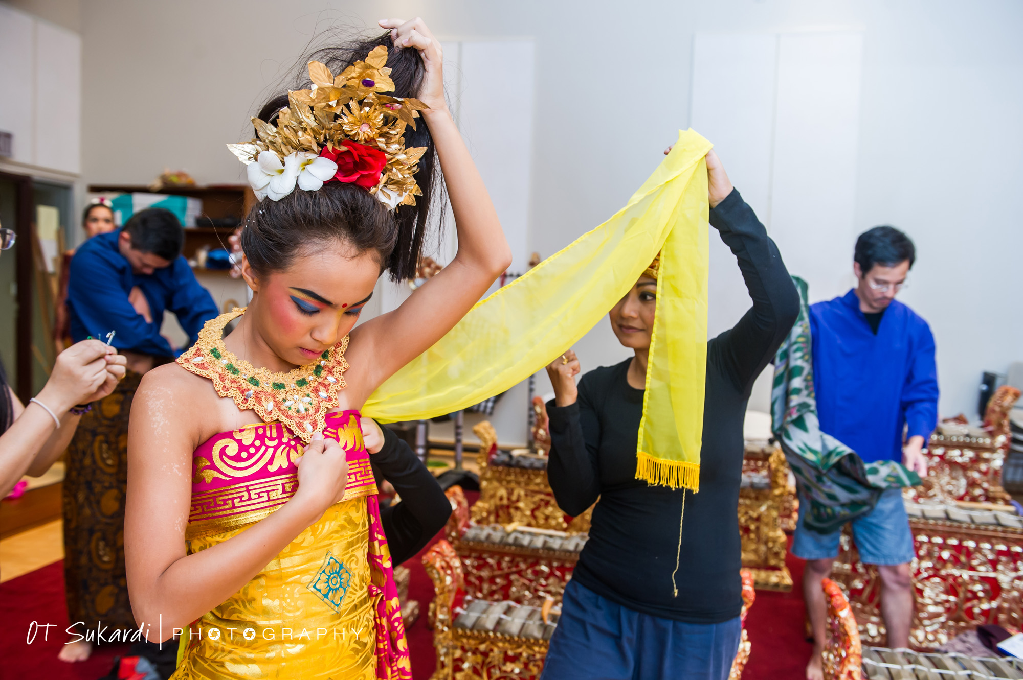 Performer being dressed