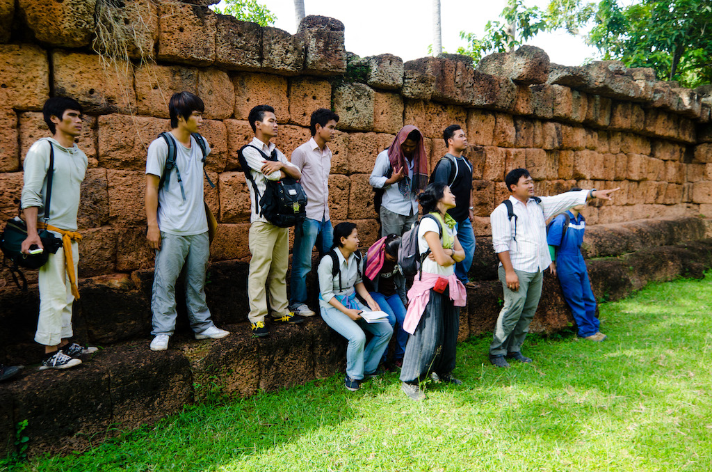 Piphal giving the guided tour to Wat Atvea to the team - he had studied it earlier.