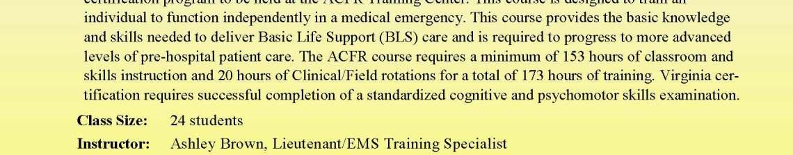 Augusta County Fire & Rescue EMT Class Announcement