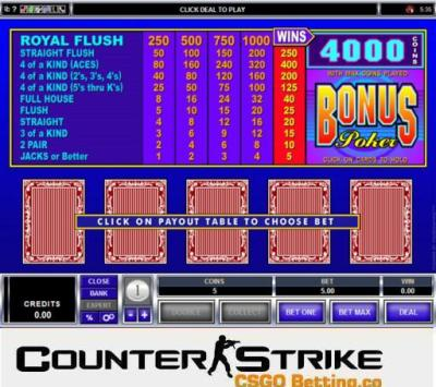 CS GO Bonus Poker Video Poker Games