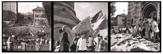 (left) Tientsin residents marching against the Xikai (西开) Catholic Church during the Three-anti Campaign. (Middle) Demonstrators at the doorsteps of the Xikai Catholic Church, originally built by Jesuits and named the MG Church, then St. Joseph's Roman Catholic Church, which was rebuilt in 1913 (Right) Demonstrators looting the chuch - photos from a friend