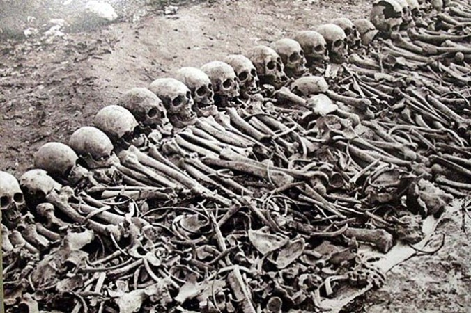 Bones from the Armenian Genocide, circa 1920s, from The Commentator.