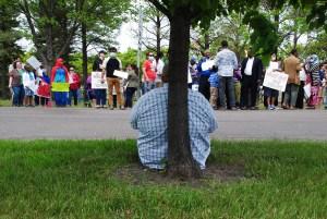 Deven Styczynski, Fargo resident, lone opposition to the protestors