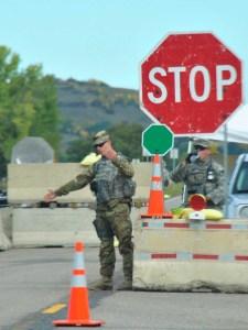 North Dakota National Guard blockading Highway 1806 - photo by Annie Gao