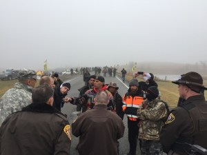 Activists' blockade on Highway 1806 Wednesday, October 26 - photo provided by Morton County Sheriff's Department
