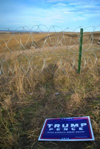 Pipeline route and razor wire off Highway 6 - photo by C.S. Hagen