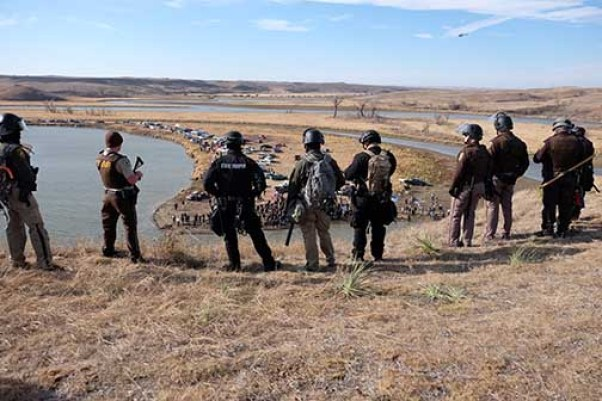 Law enforcement on top of Turtle Hill, guarding south of the pipeline - photo provided by Morton County Sheriff's Department