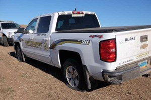 Sheriff's vehicles slashed tires - photo provided by Morton County Sheriff's Department
