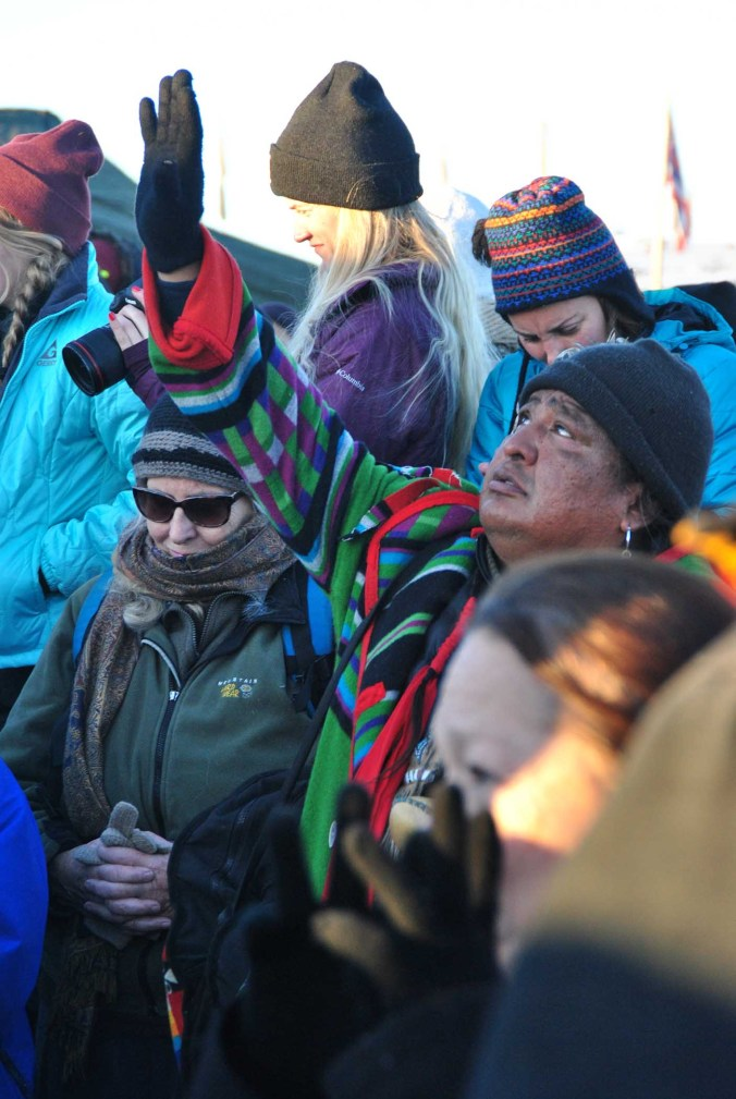 Activists rejoicing at Army Corps news denying DAPL easement - photo by C.S. Hagen.JPG