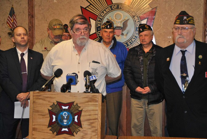 Chairman of the North Dakota Veterans Coordinating Council Russel Stabler during press conference - photo by C.S. Hagen