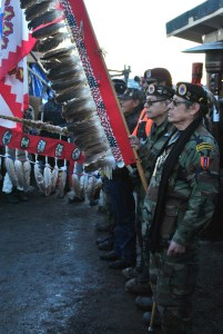 Veterans for Standing Rock before sacred fire - photo by C.S. Hagen