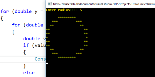 Draw A Circle In C Console Application C Programming Example