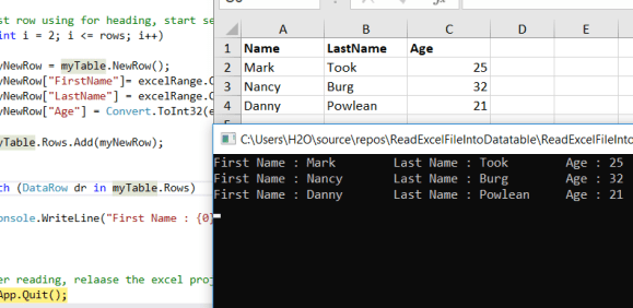 C# Read Excel File Into DataTable – C# Programming Example