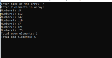 C-sharp program to count even and odd elements in array