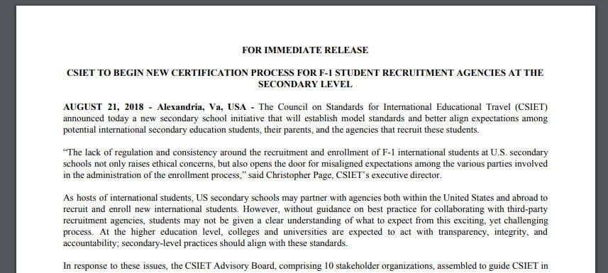 CSIET to Begin New Certification Process for F-1 Student Recruitment