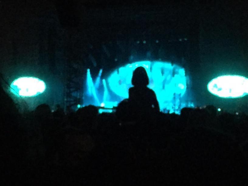 Un'immagine dei Radiohead alla Visarno Arena di Firenze