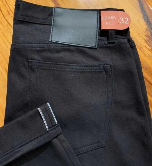Unbranded UB155 skinny 12.5 oz. black selvedge chino.