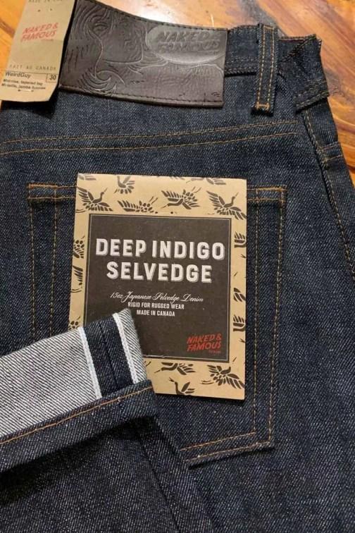 Naked & Famous Denim Deep Indigo Selvedge Weird Guy Tapered Leg Jeans