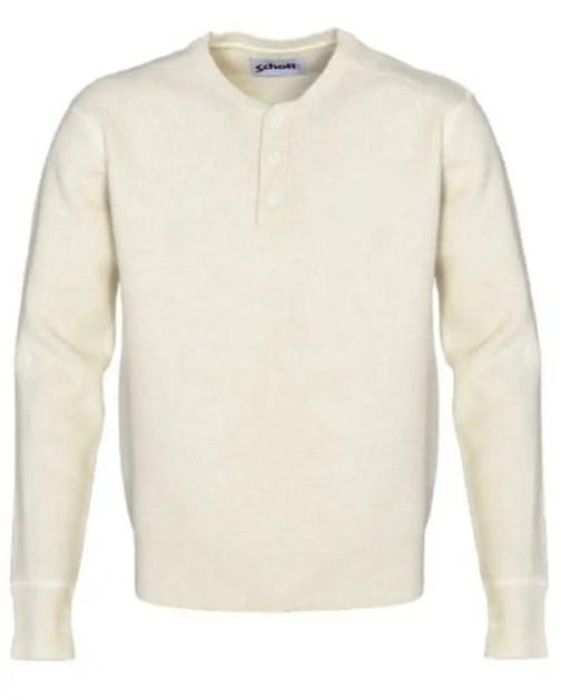 Schott NYC button henley sweater in off white.