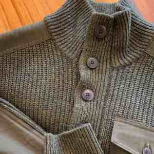 Schott NYC Stand-Up SW1822 Olive Neck Wool Sweater