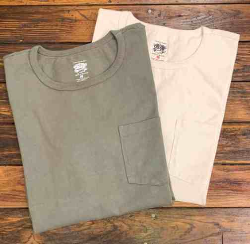 Schott NYC Heavyweight Pocket Tee. Available in Off-white and Olive.