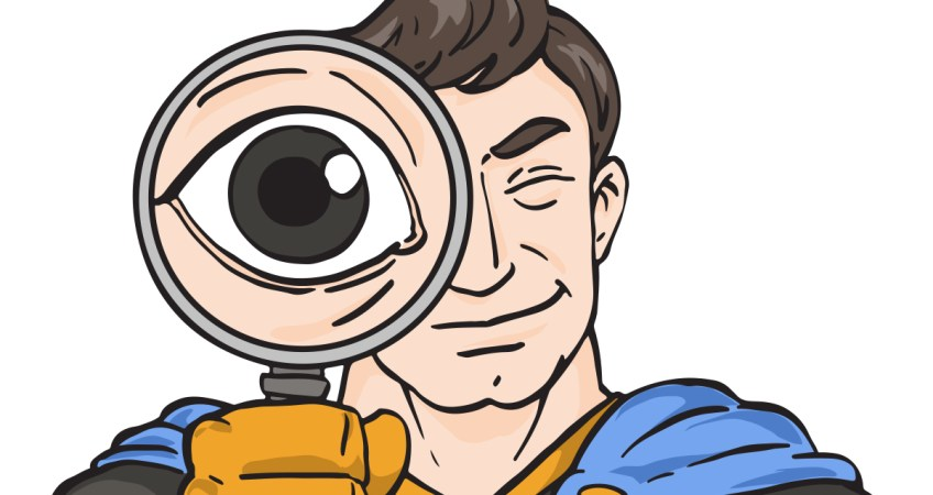 Super with magnifying glass colored