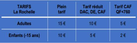 tarifs la Rochelle