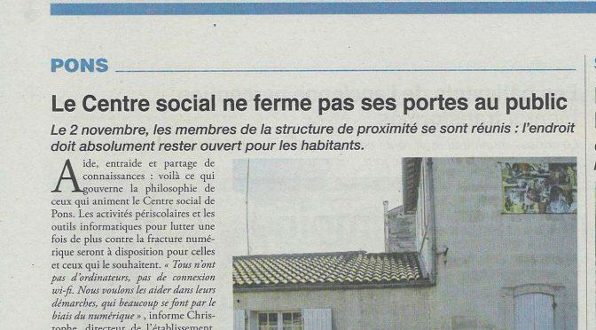 Le Centre Social ne ferme pas ses portes au public…