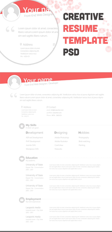 free creative resume template psd cssauthorcom resume templates
