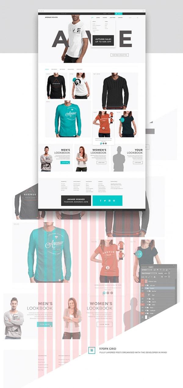 Avenue Fashion Бесплатные шаблоны для интернет-магазина psd - Avenue Fashion - Бесплатные шаблоны для интернет-магазина PSD