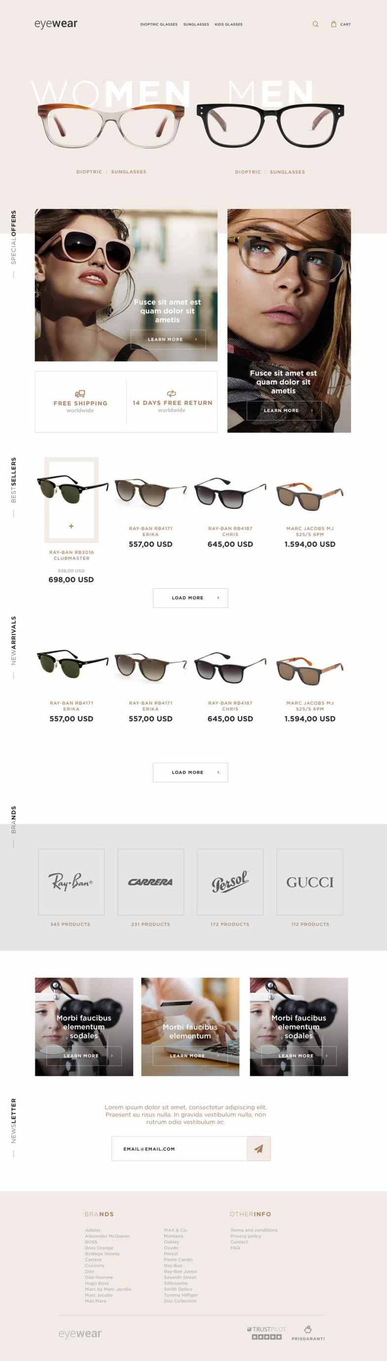 Eyewear E commerce Web Template PSD