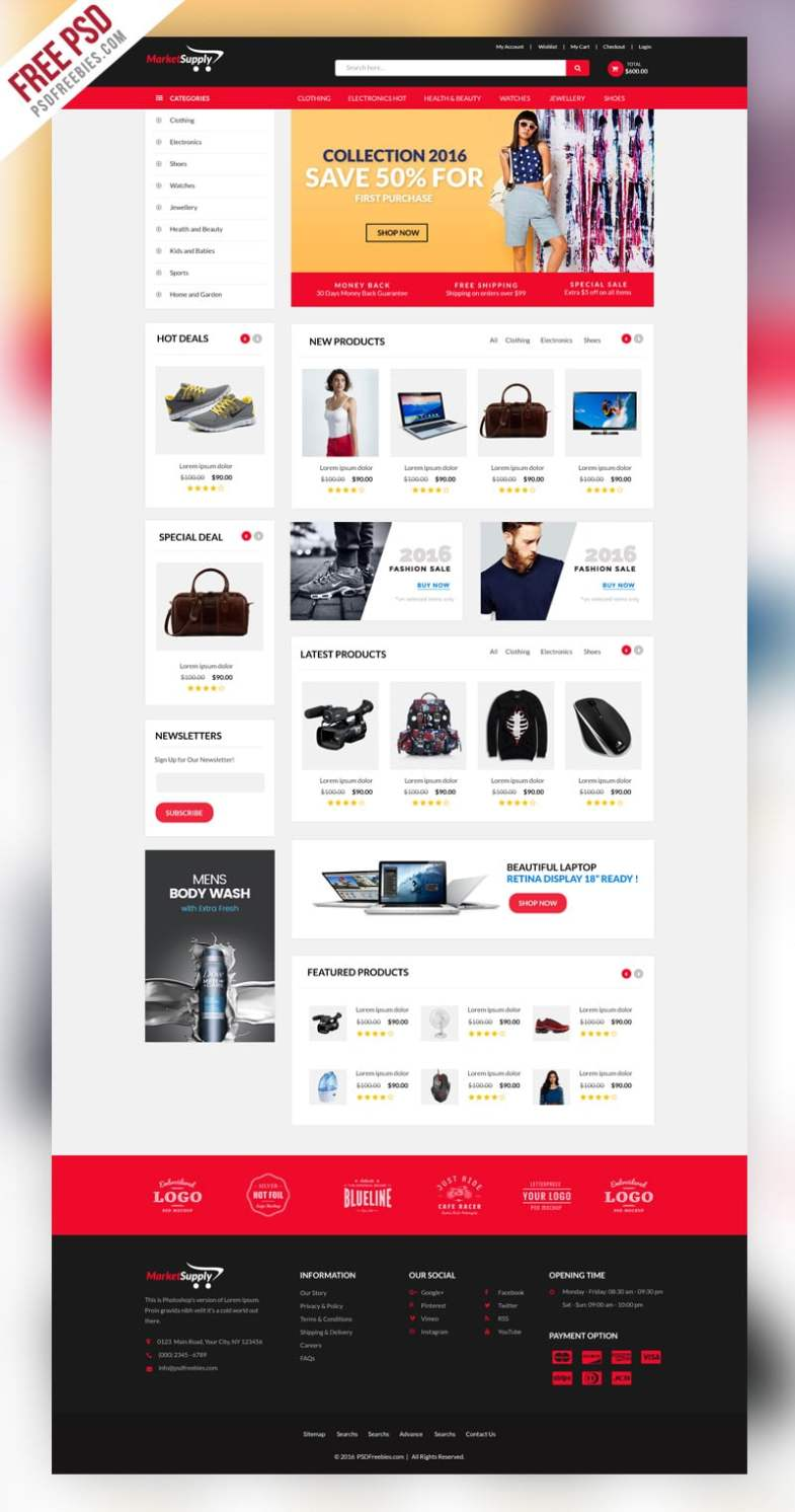 MultiPurpose eCommerce Web Template PSD Бесплатные шаблоны для интернет-магазина psd - MultiPurpose eCommerce Web Template PSD - Бесплатные шаблоны для интернет-магазина PSD