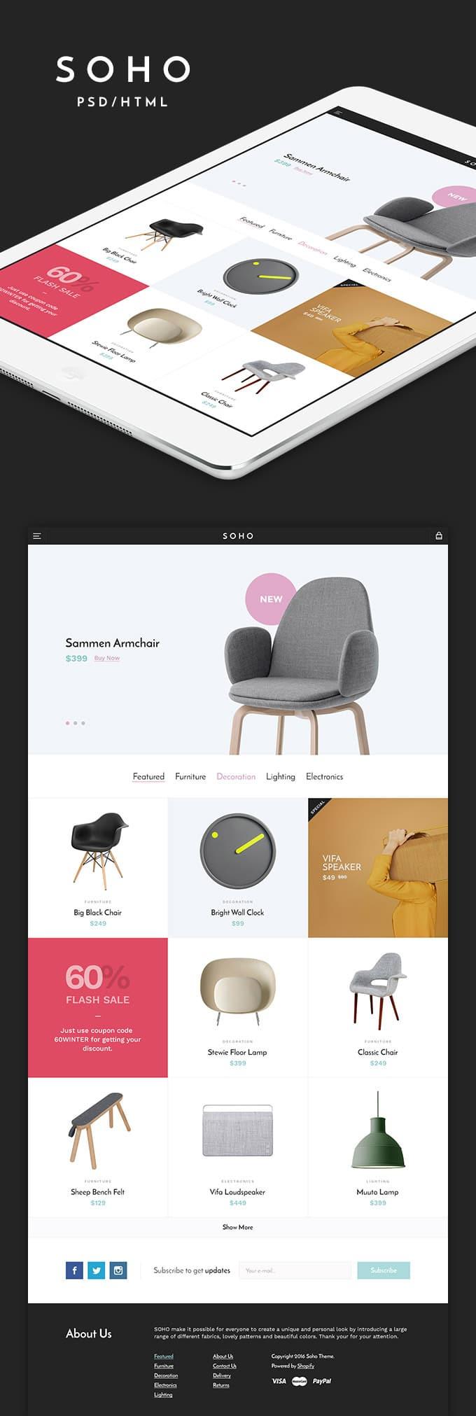 Soho - Free Responsive E commerce Template Бесплатные шаблоны для интернет-магазина psd - Soho - Бесплатные шаблоны для интернет-магазина PSD
